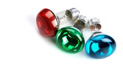 RGB bulbs Stock Photo