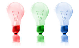 RGB bulbs Royalty Free Stock Images
