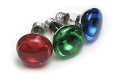 RGB Bulbs. Red, green and blue colored reflector bulbs Royalty Free Stock Photo