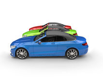 RGB cabriolet cars - side view Royalty Free Stock Image