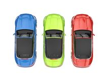 RGB cabriolet cars - top view Royalty Free Stock Photos
