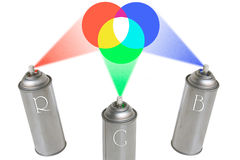 RGB Cans. Three aerosols simulating spraying the rgb colour wheel. Clipping paths included Royalty Free Illustration