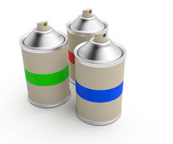 RGB cans of spray paint Royalty Free Stock Image
