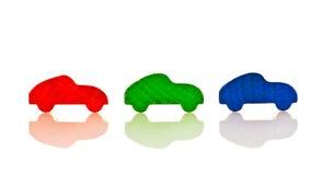 RGB cars. In a row Stock Photos