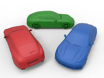 RGB cars concept. 3D rendered illustration of three cars colored in the RGB color scheme. The composition is  on a white background with shadows Royalty Free Stock Photos