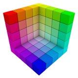 RGB & CMYK颜色多维数据集。 免版税库存照片