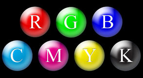 RGB and CMYK circles. On the black background stock illustration
