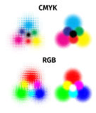 RGB and CMYK halftone vector illustration color Stock Image