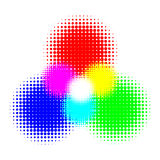 RGB and CMYK halftone vector illustration color Royalty Free Stock Image