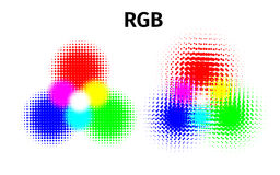 RGB and CMYK halftone vector illustration color Stock Photos