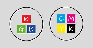 Rgb and cmyk icons Stock Photography