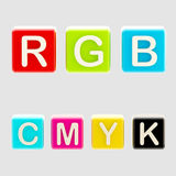 RGB and CMYK symbols made of blocks. RGB and CMYK symbols made of toy blocks isolated on white Royalty Free Stock Images
