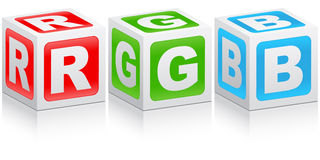 Rgb color. Made of white boxes Stock Images