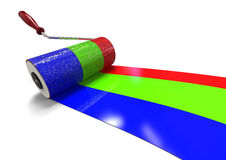 RGB color concept. 3D render image of a roller brush painting an rgb scale Stock Images