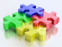 Rgb color jigsaw puzzle pieces. Color jigsaw puzzle pieces on reflect background Stock Image