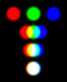 RGB color model with three overlapping spotlights. Representing the additive color mixing model. The combination of the primary colors red, green and blue in Royalty Free Stock Images