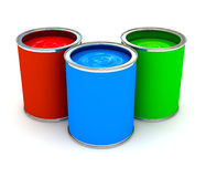 RGB color paint can over white. 3d rendered image Royalty Free Stock Image