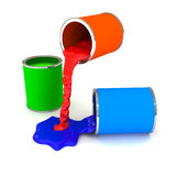 RGB color paint can over white. 3d rendered image Royalty Free Stock Photos