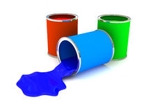 RGB color paint can over white. 3d rendered image Stock Photo