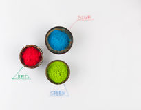 RGB color scheme concept with powder on whiteboard Royalty Free Stock Images