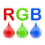 RGB color scheme: three drops isolated on white Stock Photos