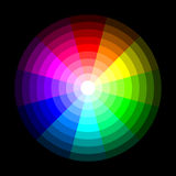 RGB color wheel from dark to light, on black background. Vector Stock Photo