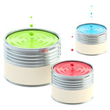 RGB colored buckets of paint isolated Royalty Free Stock Photos