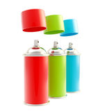 RGB colored spray oil color cylinders isolated Royalty Free Stock Photo