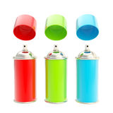 RGB colored spray oil color cylinders isolated Stock Photos