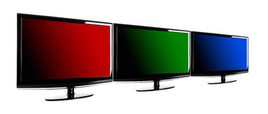 RGB colors. Three lcd TV's showing the RGB colors; red, green and blue Stock Image