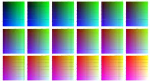 RGB colors - cdr format. RGB palettes with red green and blue increasing 15 units steps Royalty Free Stock Photos