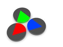 RGB Colors. 3d rendering of three gray cylinders with an RGB triangle inside Royalty Free Stock Photos