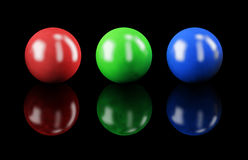 RGB colors. Set of balls isolated on black: RGB colors Royalty Free Stock Photos