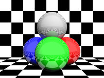 RGB colors, spheres. 3D render of 3 spheres in RGB color and 1 in neutral grey on black and white squared checkerboard  patterned background Stock Photo