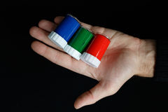 RGB colours in the man hand Stock Photos