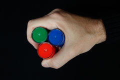 RGB colours in the man hand Royalty Free Stock Photography