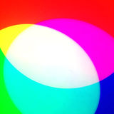 RGB colours on a white wall Royalty Free Stock Photo