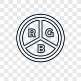 Rgb concepten vector lineair pictogram op transparante backgroun royalty-vrije illustratie