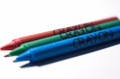 RGB crayons. Three crayons in primary colors, red, green, and blue Stock Photos