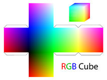 RGB cube. For cutting paper Stock Images