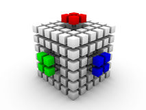RGB cube. Gray cube made of smaller cubes of same size with three outstanding RGB segments on white background Royalty Free Stock Photography