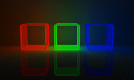 RGB Cubes. 3 cubes in red, green and blue Stock Photo