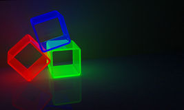 RGB Cubes. 3 cubes in red, green and blue Stock Photos