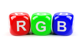 RGB dices Stock Images