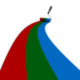 RGB drawn roller brush on the white. Isolated 3D image Royalty Free Stock Photography