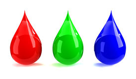 RGB drops. 3D render isolated on white vector illustration
