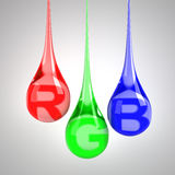 RGB drops. With letters - 3D render vector illustration