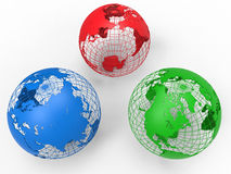 RGB earth globe concept. 3D render illustration of three earth globes  on a white background with shadows. The three globes are with the RGB color scheme Stock Photos