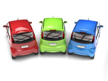 RGB economic compact electric cars - top rear view Stock Photo