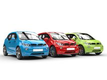 RGB electric cars in a row Stock Images